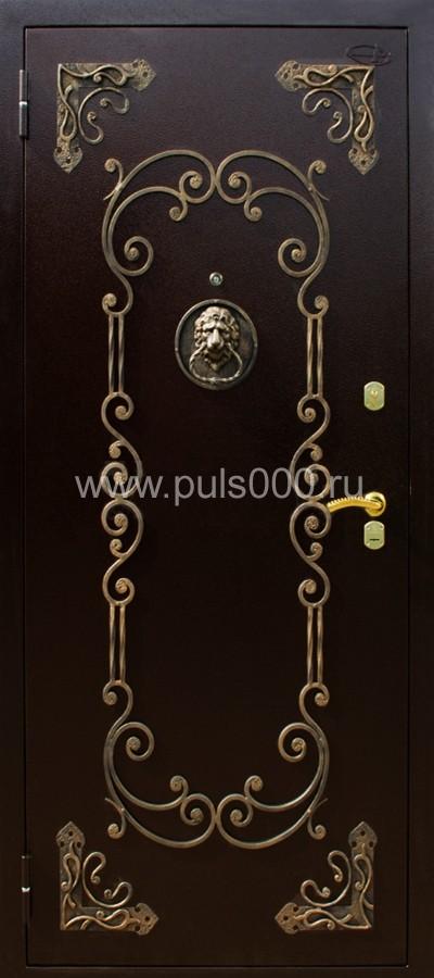 дверь металлическая с ковкой со львом