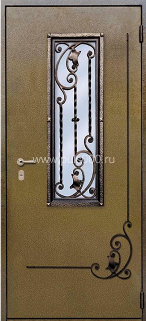 оформление металлические двери ковкой и стеклом