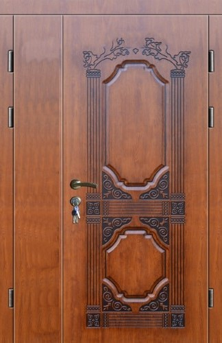 дизайн входных дверей двухстворчатых дверей